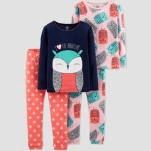 CARTERS 12 Month NEW Owl Pajamas just one you Girl